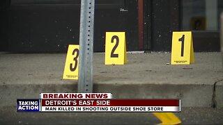 Man killed in shooting outside shoe store on Detroit's east side