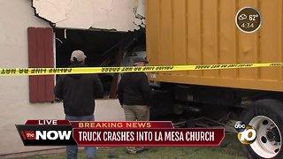Truck crashes into La Mesa church