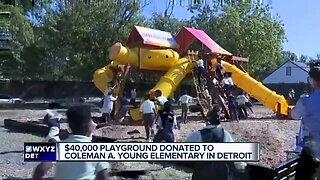 Lady Jane's surprises Detroit elementary school students with new playscape