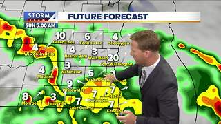 Humid with more storms possible Sunday