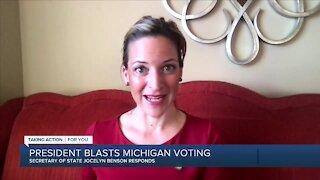 Michigan Secretary of State Jocelyn Benson speaks on false voter fraud allegations