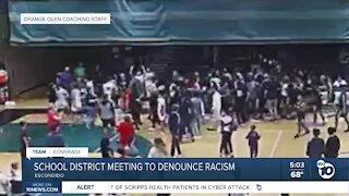 Escondido school officials meet to denounce racism after basketball game