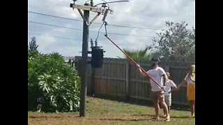 Family reveals gender of baby using electricity utility pole
