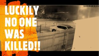 20ft. high wall COLLAPSES into street - Surveillance footage