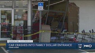 Van crashes into Family Dollar, pedestrian injured