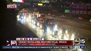 Crash involving motorcycle causing delays
