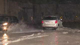 Canal Road flooding behind Tower City