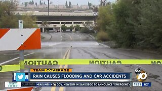 Rain causes flooding and accidents