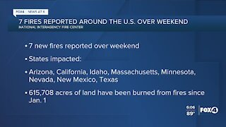 Fires reported across the U.S. over the weekend