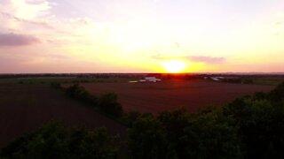 High altitude drone films strikingly beautiful sunset