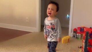 Crazy toddler exhibits wide range of emotions
