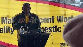Ramaphosa discussing domestic worker wage at Cosatu event