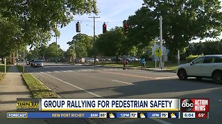 Group rallying for pedestrian safety in Tampa