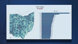 Ohio Department of Health dashboard shows COVID-19 cases by zip code