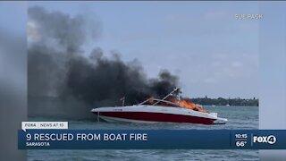 Sarasota Police rescue nine from boat fire