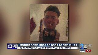 Mother going door to door to find sons killer