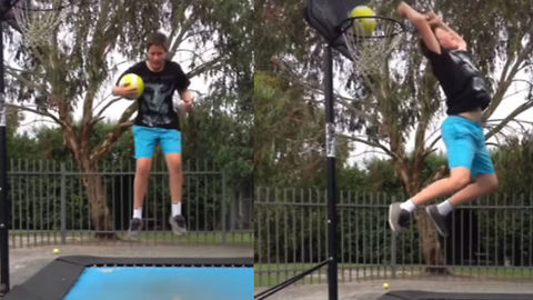 Guy Experiences Painful Fail When Trying Trampoline Dunk