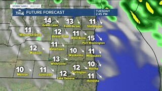 Scattered showers expected Tuesday