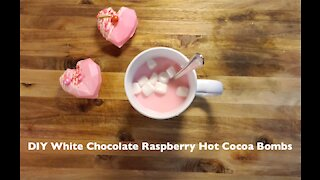 DIY White Chocolate Raspberry Hot Cocoa Bombs
