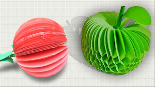Paper apple making / Paper Crafts For School / Paper Craft / Easy kids craft ideas / paper Apple 3D
