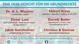 Zeig Dein Gesicht für die Grundrecht Offenburg 10.10.2020 Teil 1/6
