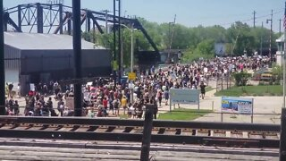 Peaceful protesters march through Milwaukee's Bay View neighborhood on Tuesday