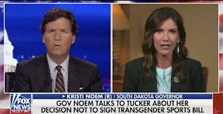 Tucker Gets Into Tense Debate With Gov. Noem Over Trans Sports Bill
