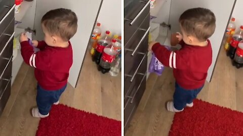 Kid finds chocolate in the kitchen, runs away with the goods