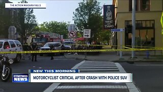 Motorcyclist in critical condition following crash with police vehicle