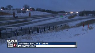 April snowy road conditions