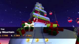 Mario Kart Tour - Merry Mountain Track Gameplay (Winter Tour)