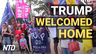 Crowd Lines Up to Welcome Trump Home   NTD