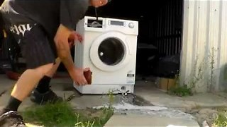 Washing machine gets totalled by brick inside! || Viral Video UK