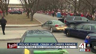 Police chase, crash at Chiefs parade