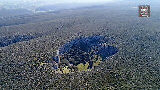 Drone footage captures large earthly crater in Greece