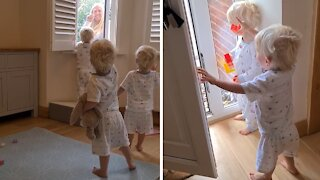 Identical triplets overjoyed when grandma comes to visit