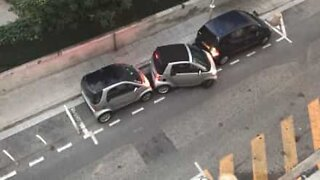 Smart car parks in the tightest parking spot ever!