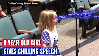 8 YEAR OLD SCHOOL GIRL GIVES CHILLING SPEECH AGAINST MASKS - ROOM ERUPTS