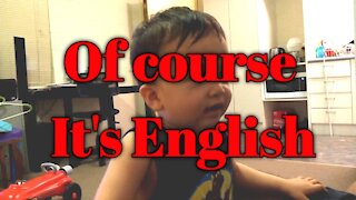 Kid goes viral on social media. Of Course its English