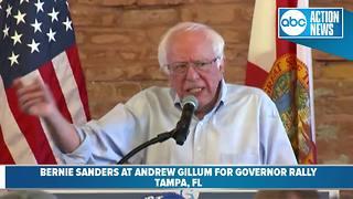 U.S. Senator Bernie Sanders speaks at Andrew Gillum's rally for governor
