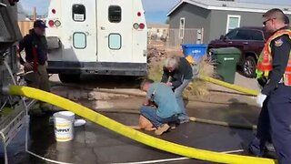 Dog reunited with homeowners after mobile home fire