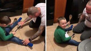 Dad pulls savage prank on unsuspecting toddler