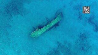 Greek drone footage captures eerie Turkish shipwreck in exotic waters