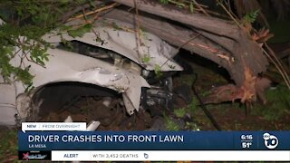 Driver crashes into front lawn