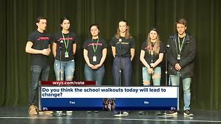Novi High School students participate in school walkouts
