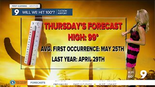 Highs climb close to 100° by Thursday