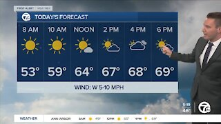 Metro Detroit Forecast: Temps may stay below 70 today