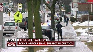 Police officer shot, suspect in custody