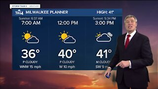 Tuesday is partly cloudy with a high of 41