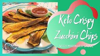 Keto Crispy Zucchini Chips w/ homemade maranara sauce